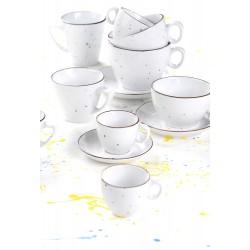 DOTS WHITE Filiżanki do kawy ze spodkami - porcelana