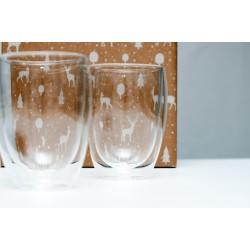 Zestaw świąteczny - 2 x Szklanka z podwójnymi ściankami 380 ml