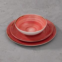 RUSTICO RED Komplet porcelany dla 4 osób x 3 elementy