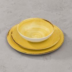 RUSTICO YELLOW Komplet porcelany dla 6 osób x 3 elementy