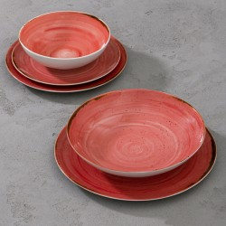 RUSTICO RED Komplet porcelany dla 4 osób 5 el.