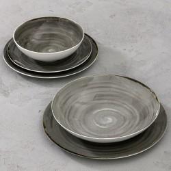 RUSTICO GREY Komplet porcelany dla 6 osób x 5 elementów