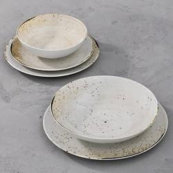 RUSTICO WHITE Komplet porcelany dla 4 osób 5 el.